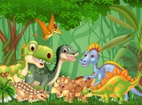 Fototapeta Dinusie - Cartoon happy dinosaurs living in the jungle