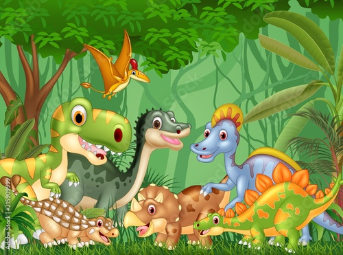 Cartoon happy dinosaurs living in the jungle #215909999