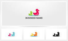 Mother Chil Duck Swimming Logo