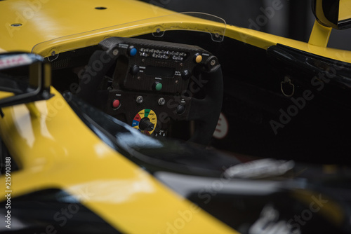 Racing car steering wheel controls detail