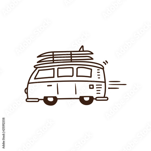 Surf van driving to the beach with surfboards on Wallpaper Mural