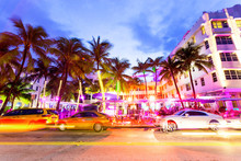 Ocean Drive Scene At Sunset Wi...