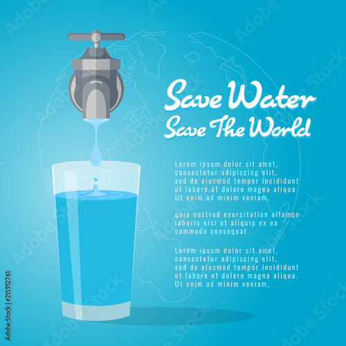 Fototapeta Save water save the world , faucet or water tap with a drop of water to glass of