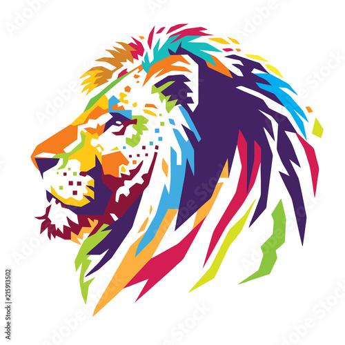 Fototapeta premium Kolor głowy lwa
