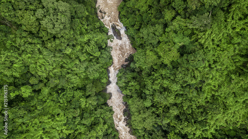 Obraz na plátně  Aerial view river flowing in the forest, river in tropical rainforest