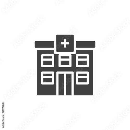 Hospital building vector icon  filled flat sign for mobile