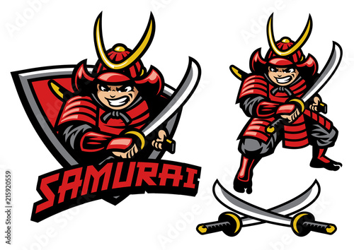 Photo cartoon style of samurai warrior mascot