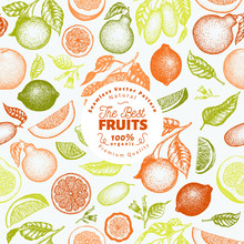 Citrus Fruits Seamless Pattern...