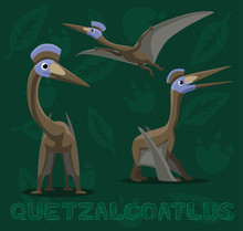 Dinosaur Quetzalcoatlus Cartoon Vector Illustration
