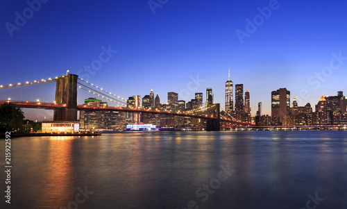 Printed kitchen splashbacks Brooklyn Bridge Brooklyn Bridge and New York City skyline at dusk