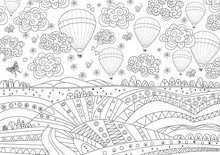 Fancy Landscape With Hot Air Balloons In The Sky For Your Colori