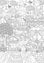 Cute Cityscape With Hot Air Balloons In Sky For Your Coloring Bo