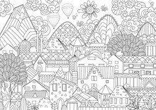 Mountain Cityscape With Hot Air Balloons In Sky For Your Colorin