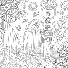 Fashion African Girl In Fantasy Landscape For Your Coloring Book