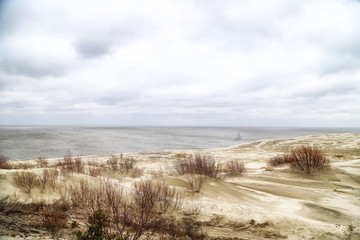 Beautiful view on sand dunes of the Curonian spit. Nida in Lithuania and Kaliningrad region in Russia