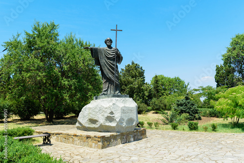 Poster Monument beautiful view on monument to Apostle Andrew in Chersonese Tavrichesky, Sevastopol, Crimea
