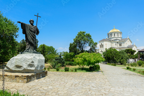 Poster Monument beautiful view on monument to Apostle Andrew and the St. Volodymyr's Cathedral in Chersonese Tavrichesky, Sevastopol, Crimea