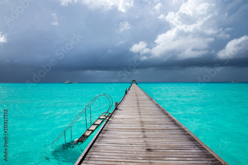 Poster Turquoise Maldives beach resort panoramic landscape. Summer vacation travel holiday background concept. Maldives paradise beach.