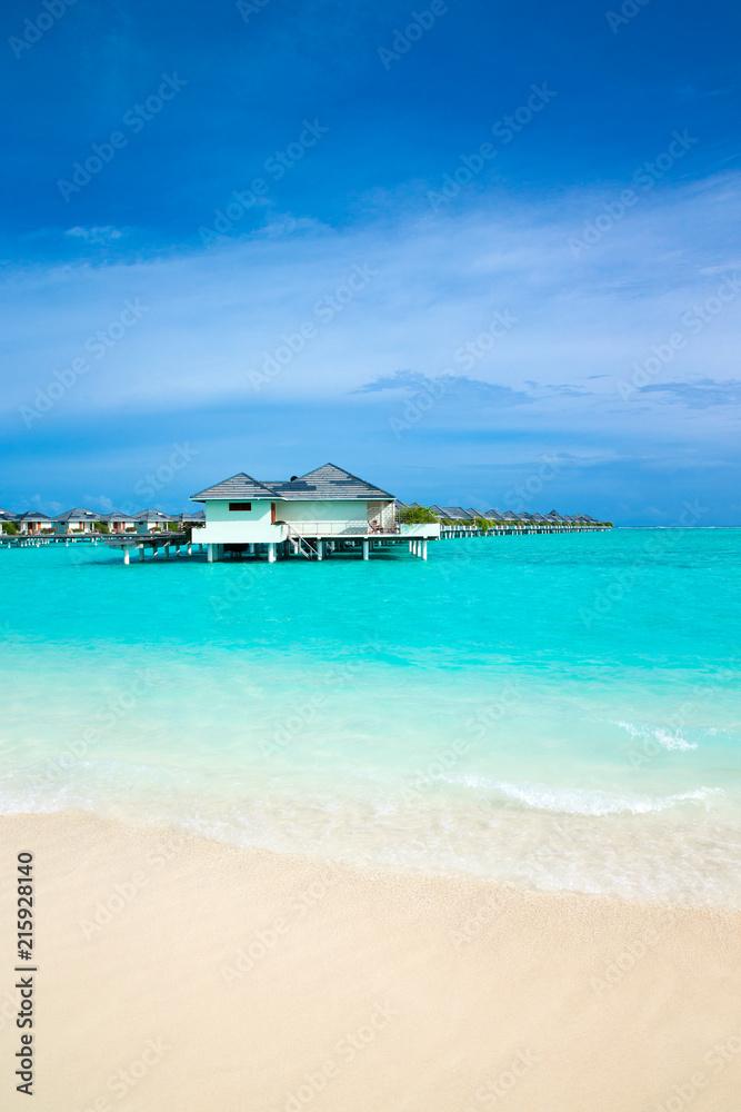 Fototapeta  beach in Maldives with blue lagoon