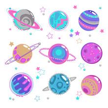 Cute Decorative Fantasy Planet Icons Set.