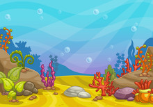 Cartoon Underwater Background.