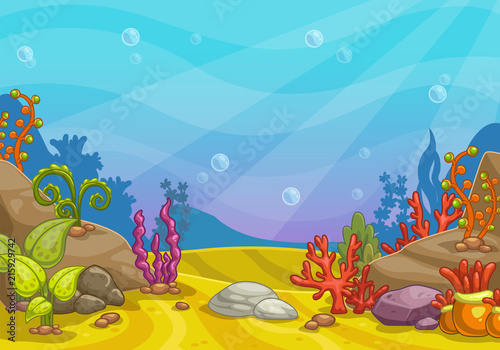 Cartoon underwater background.