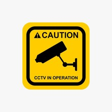 CCTV In Operation Sign Warning Icon Design Vector