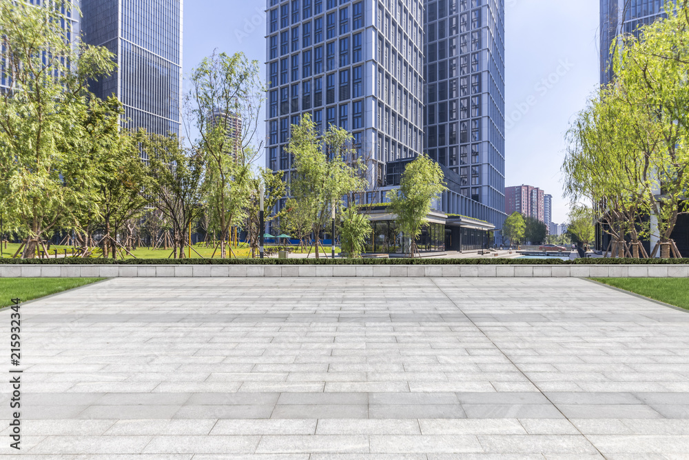 Fototapety, obrazy: Panoramic skyline and modern business office buildings with empty road,empty concrete square floor