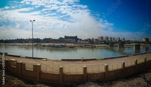 Aerial panorama view to Baghdad city and Tigris promenade from Al-Mustansiriya U Fototapeta