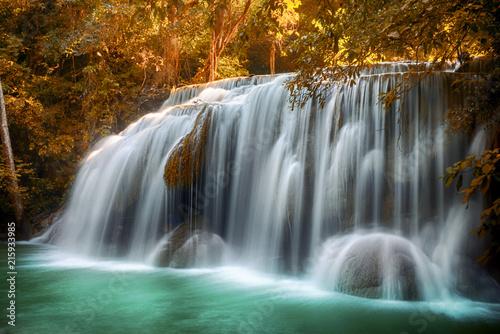 Poster Watervallen Huai Mae Khamin Waterfall at Srinakarin Dam, Kanchanaburi, Thailand