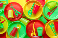 Bright Plastic Disposable Tableware Background