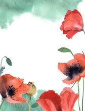 Watercolor Green Background Of...