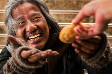 Homeless Male With Happy Face ...