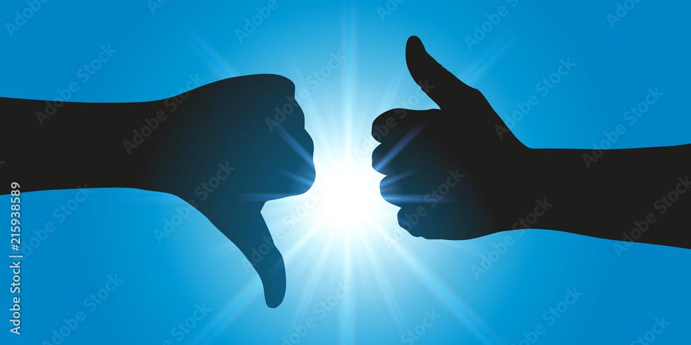 Fototapeta main - pouce - opinion - like - pour ou contre - concept - différence - opposition - symbole - conflit