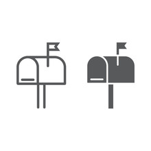 Mail Box Line And Glyph Icon, ...