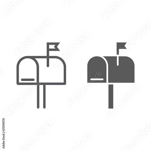 Obraz na plátně Mail box line and glyph icon, letter and post, mailbox sign, vector graphics, a linear pattern on a white background, eps 10
