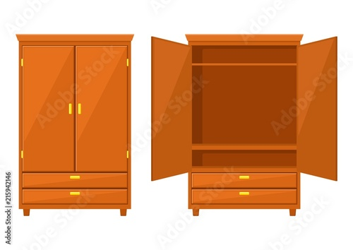 Open and closet wardrobe isolated on white background Canvas Print