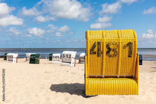 In de dag Noord Europa beach chair north sea germany in summer