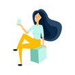 A girl drinks water through a straw. Rest at the resort. Beautiful dynamic girl with water. Young woman drinking water. The girl is drinking water.Flat design. Vector illustration.