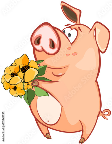 Foto op Aluminium Babykamer Illustration of a Cute Pig. Cartoon Character