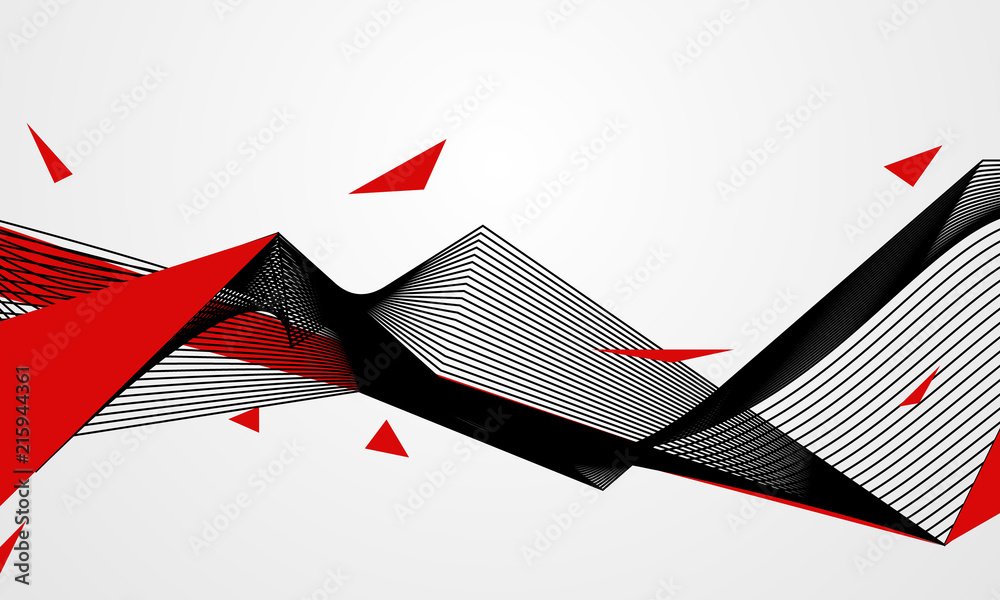 Fototapeta Abstract line red black background concept Vector graphic design..