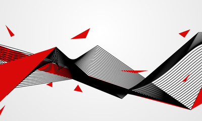 Abstract line red black background concept Vector graphic design..