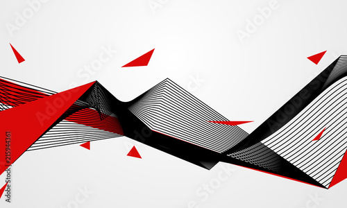 Fototapeta Abstract line red black background concept Vector graphic design.. obraz