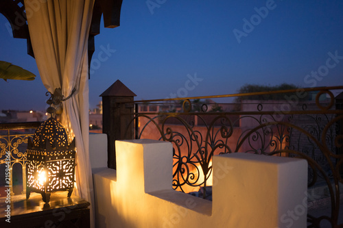 Valokuva  oriental night roof view in marrakesh