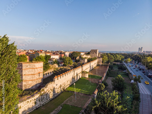 Stampa su Tela Aerial Drone View of Ancient Constantinople's Walls in Istanbul / Byzantine Cons