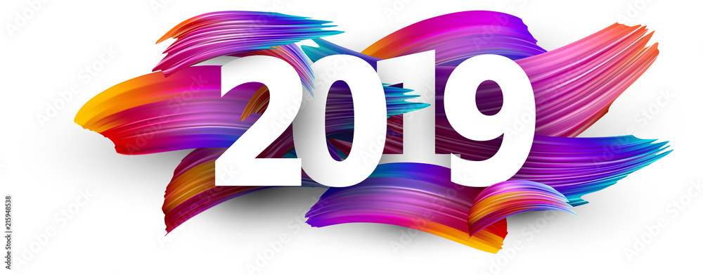 Fototapety, obrazy: 2019 new year festive background with colorful brush strokes.