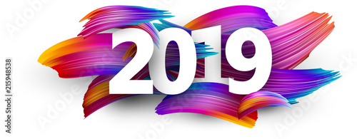 Fototapeta 2019 new year festive background with colorful brush strokes. obraz