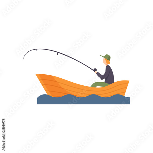 Fotomural Fisherman sitting on boat with fishing rod in his hand vector Illustration on a