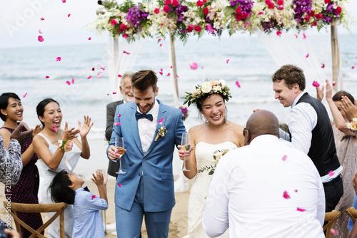 Fotografie, Obraz  Cheerful newlyweds at beach wedding ceremnoy