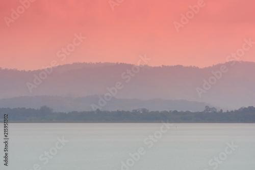In de dag Bleke violet Colorful dreammy landscape of Lake and Mountain